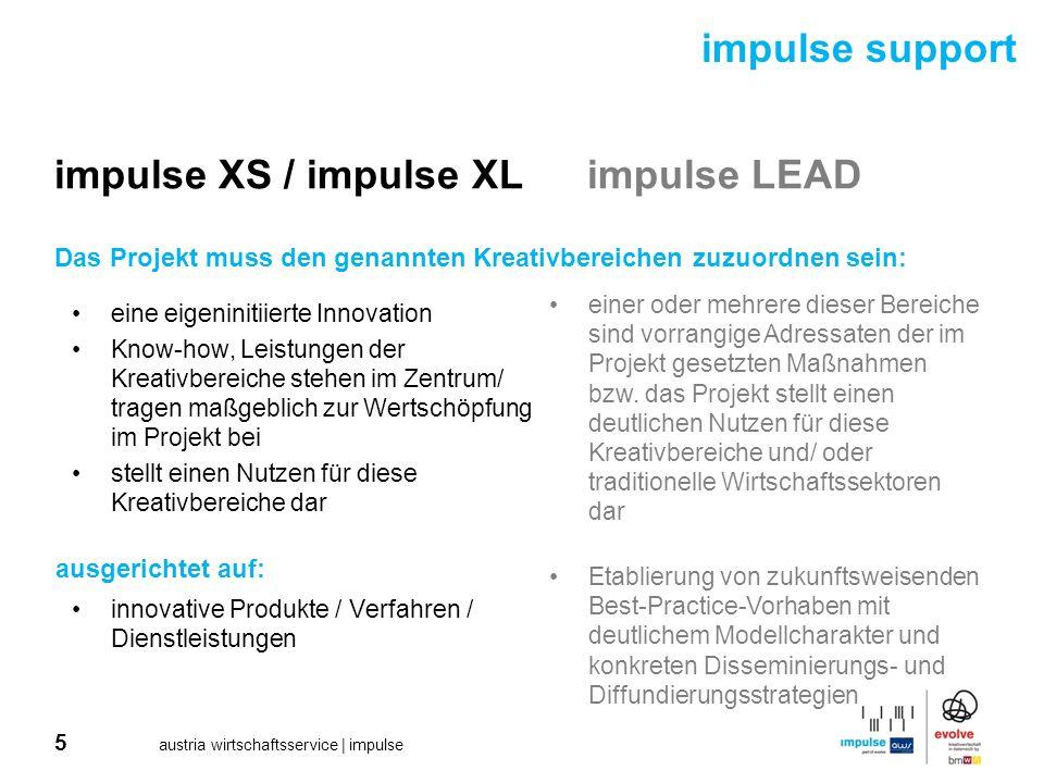16 austria wirtschaftsservice | impulse impulse support impulse XSimpulse XLimpulse LEAD impulse XS 1101 Einreichung: 18.4.-15.9.2011 impulse XL 1101 Einreichung: 11.4.-1.9.2011 impulse LEAD 1101 Einreichung: Winter 2011/2012 Detailinformationen (online Einreichung, Fragen&Fakten, Timetable, Juroren…): www.impulse-awsg.at