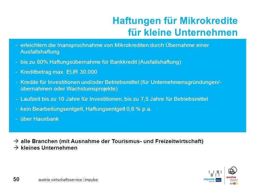 50 austria wirtschaftsservice | impulse Haftungen für Mikrokredite für kleine Unternehmen -erleichtern die Inanspruchnahme von Mikrokrediten durch Übe