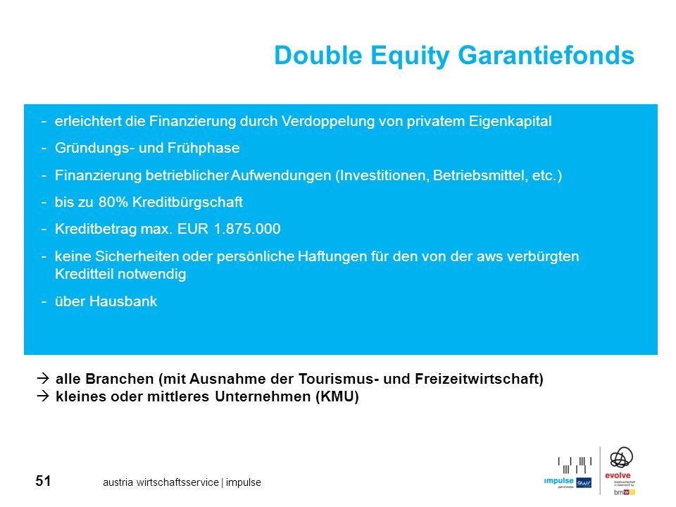 51 austria wirtschaftsservice | impulse Double Equity Garantiefonds -erleichtert die Finanzierung durch Verdoppelung von privatem Eigenkapital -Gründu