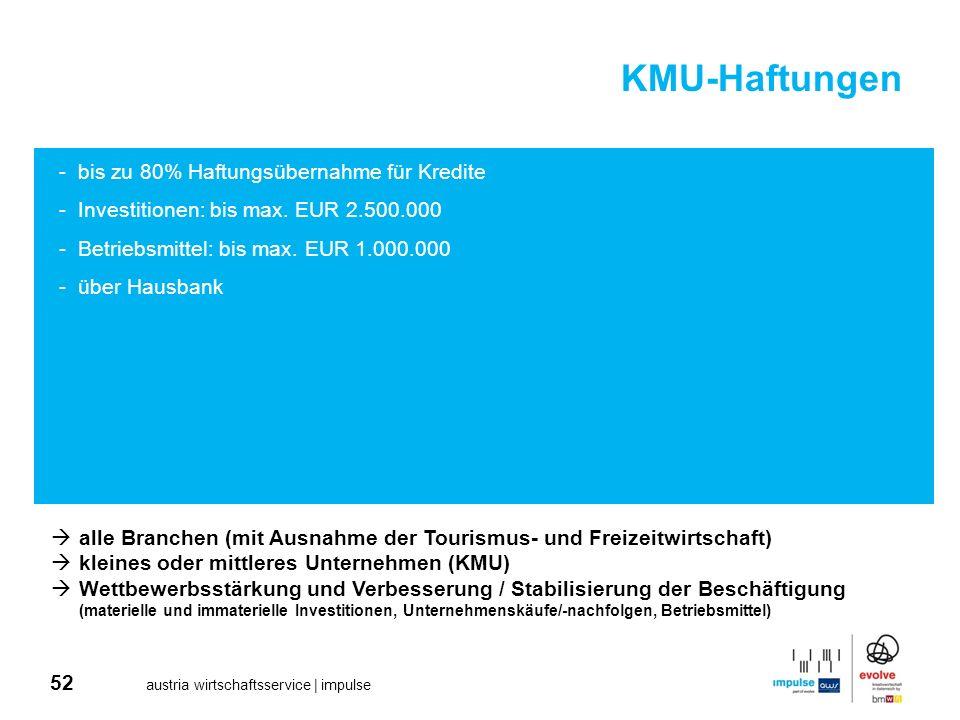 52 austria wirtschaftsservice | impulse KMU-Haftungen -bis zu 80% Haftungsübernahme für Kredite -Investitionen: bis max. EUR 2.500.000 -Betriebsmittel