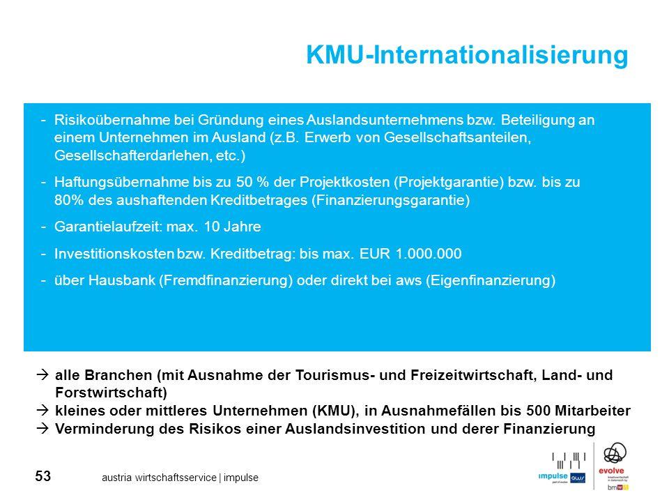 53 austria wirtschaftsservice | impulse KMU-Internationalisierung -Risikoübernahme bei Gründung eines Auslandsunternehmens bzw. Beteiligung an einem U