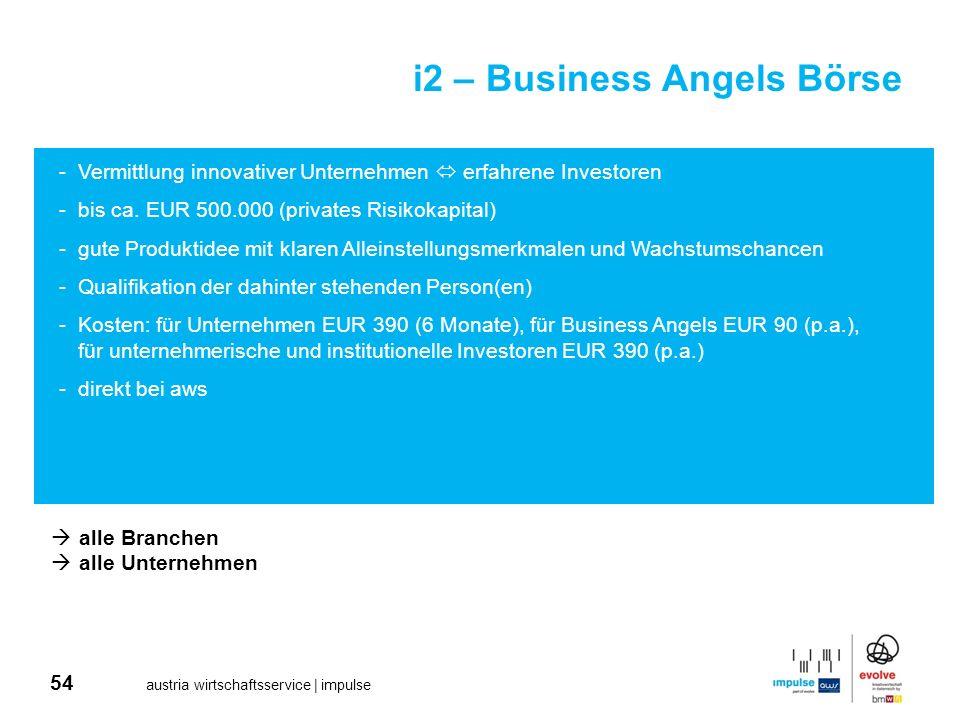 54 austria wirtschaftsservice | impulse i2 – Business Angels Börse -Vermittlung innovativer Unternehmen erfahrene Investoren -bis ca. EUR 500.000 (pri