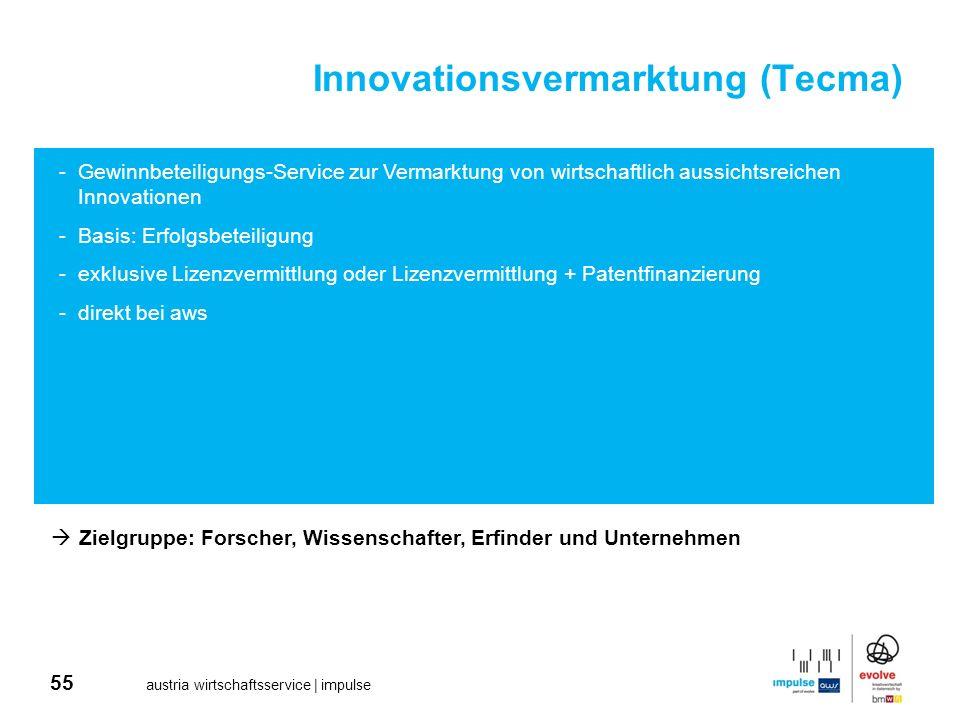 55 austria wirtschaftsservice | impulse Innovationsvermarktung (Tecma) -Gewinnbeteiligungs-Service zur Vermarktung von wirtschaftlich aussichtsreichen