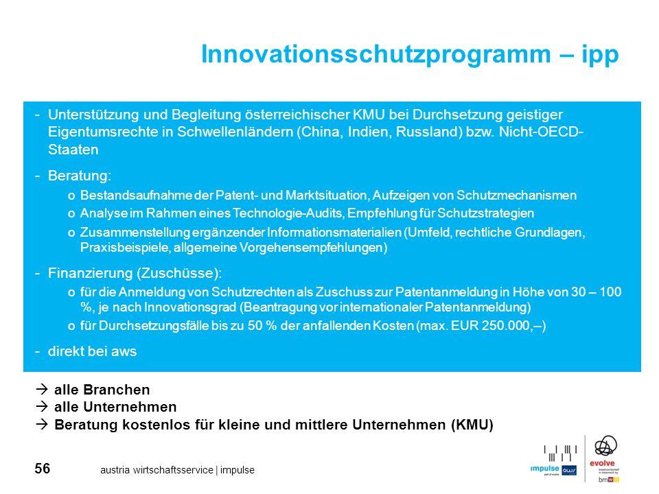 56 austria wirtschaftsservice | impulse Innovationsschutzprogramm – ipp alle Branchen alle Unternehmen Beratung kostenlos für kleine und mittlere Unte