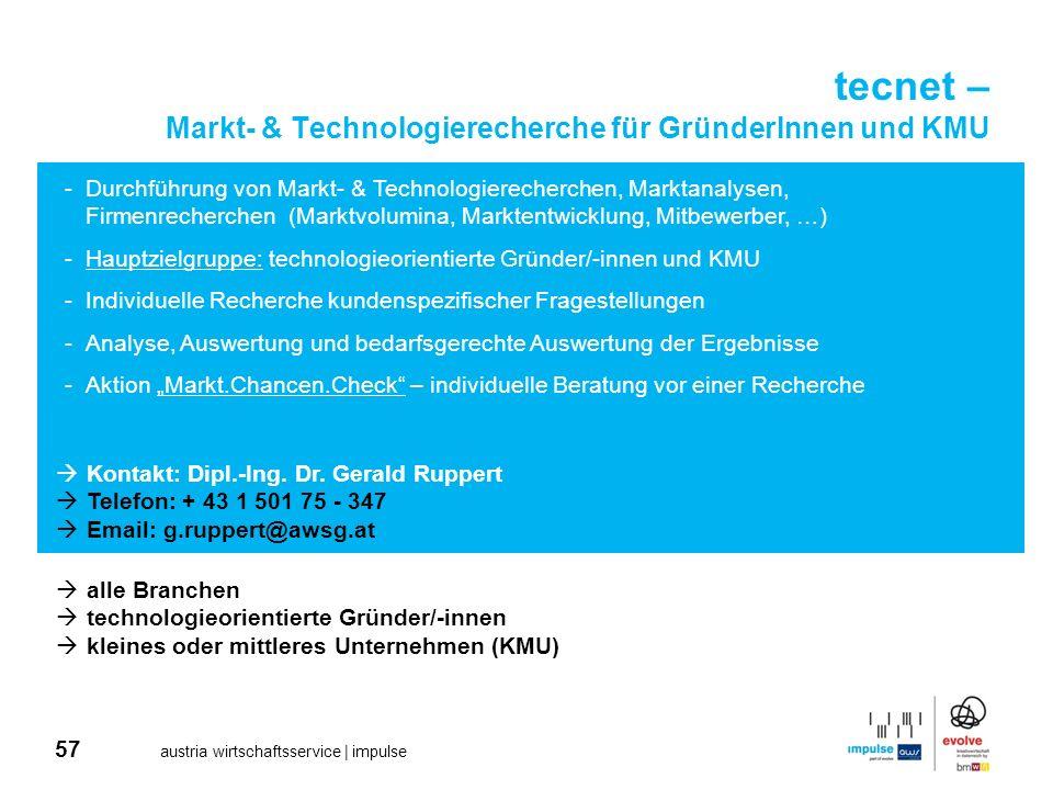 57 austria wirtschaftsservice | impulse tecnet – Markt- & Technologierecherche für GründerInnen und KMU -Durchführung von Markt- & Technologierecherch