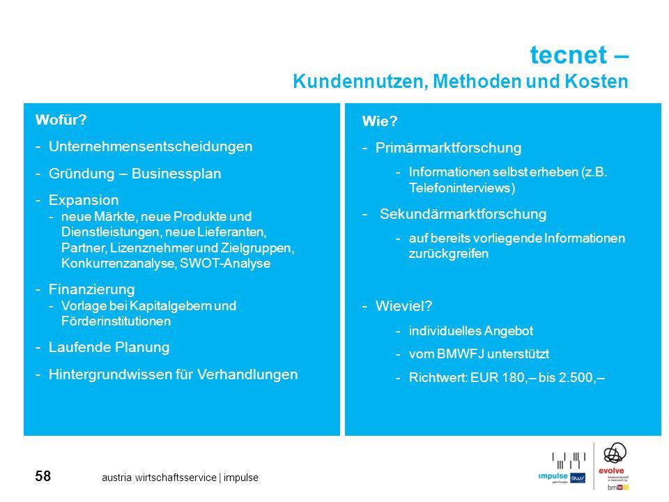 58 austria wirtschaftsservice | impulse tecnet – Kundennutzen, Methoden und Kosten Wofür? -Unternehmensentscheidungen -Gründung – Businessplan -Expans