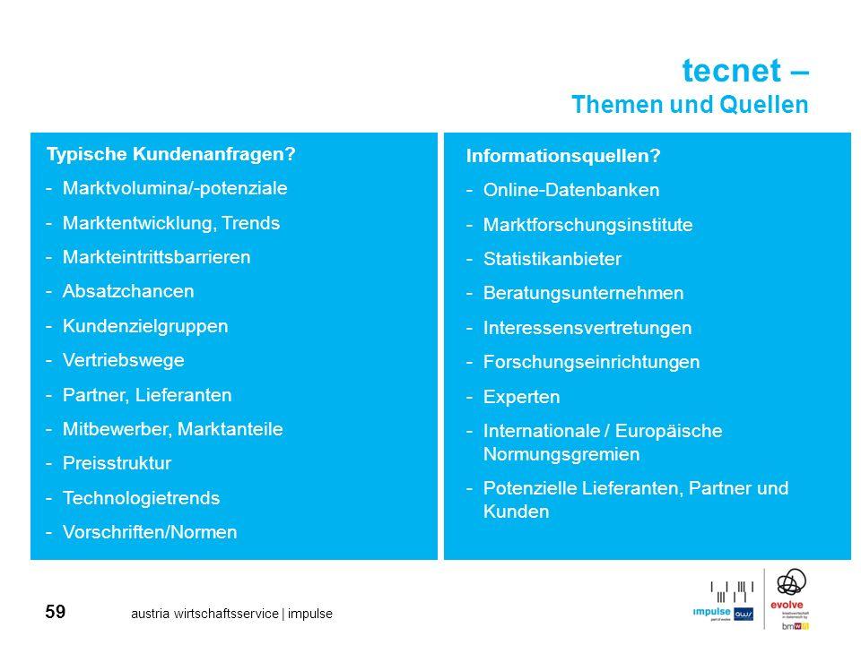 59 austria wirtschaftsservice | impulse tecnet – Themen und Quellen Typische Kundenanfragen? -Marktvolumina/-potenziale -Marktentwicklung, Trends -Mar