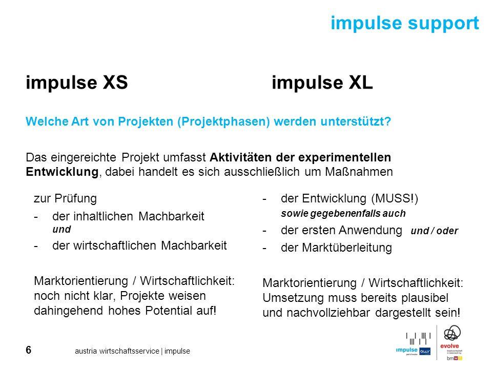 6 austria wirtschaftsservice | impulse impulse support impulse XS impulse XL Welche Art von Projekten (Projektphasen) werden unterstützt? Das eingerei