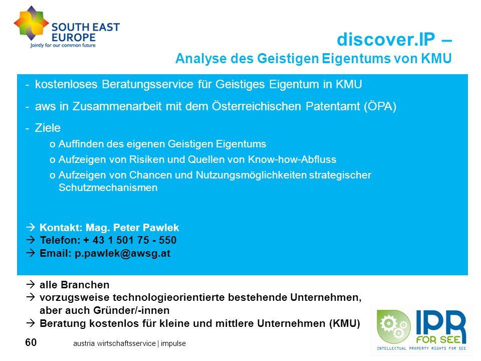 60 austria wirtschaftsservice | impulse discover.IP – Analyse des Geistigen Eigentums von KMU alle Branchen vorzugsweise technologieorientierte besteh