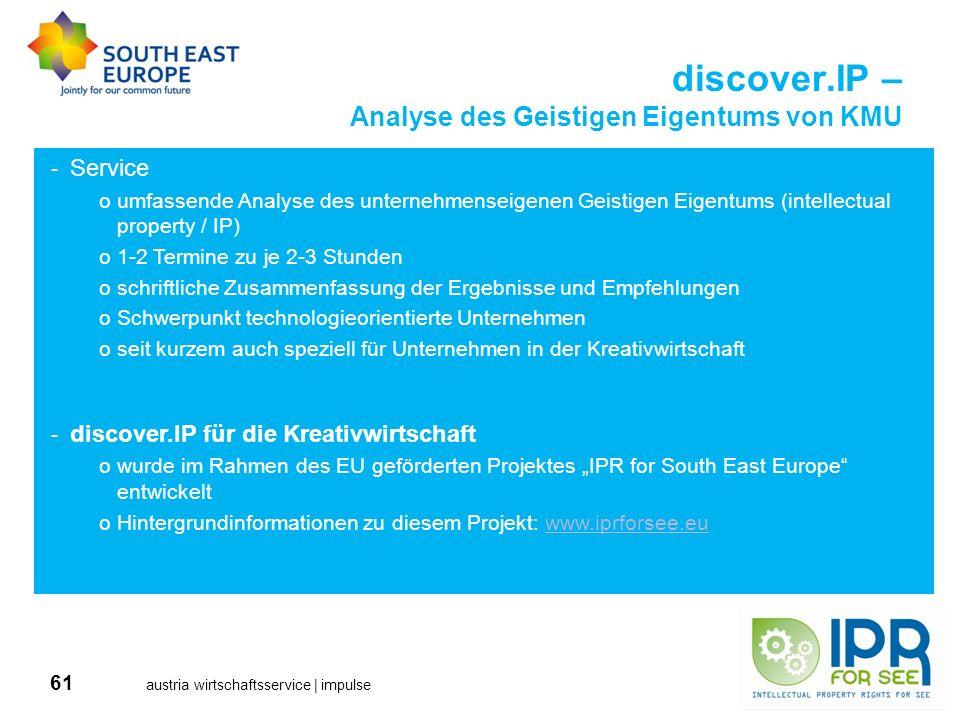 61 austria wirtschaftsservice | impulse discover.IP – Analyse des Geistigen Eigentums von KMU -Service oumfassende Analyse des unternehmenseigenen Gei