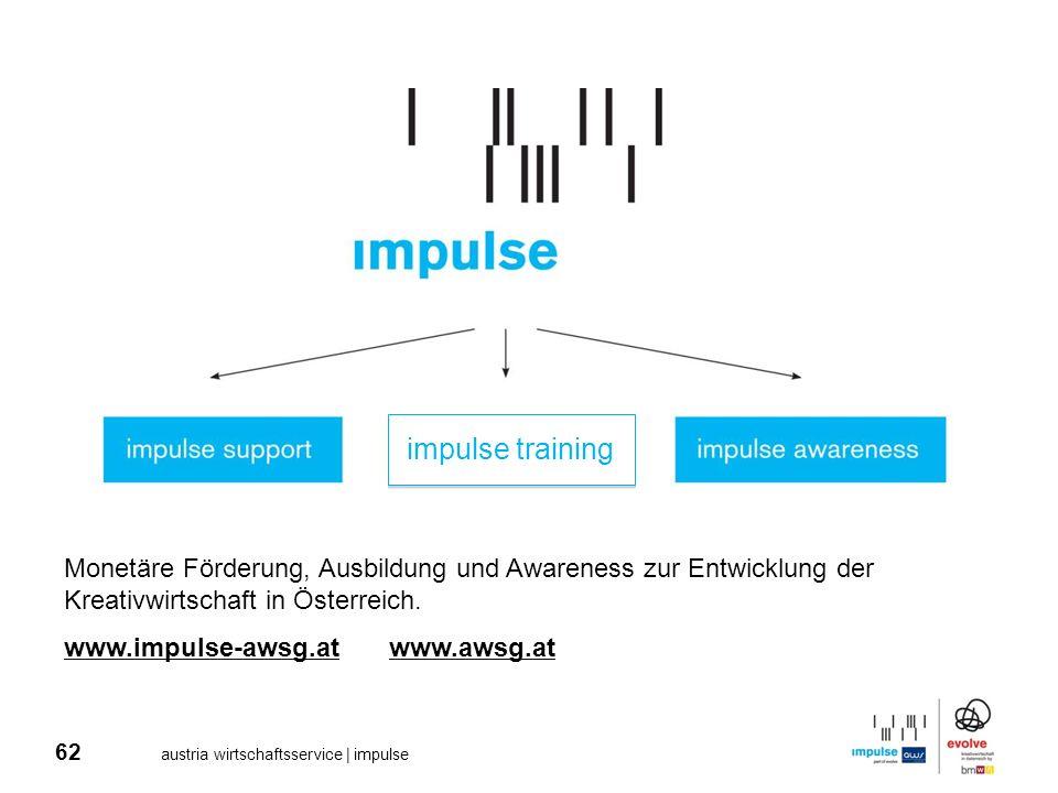 62 austria wirtschaftsservice | impulse Monetäre Förderung, Ausbildung und Awareness zur Entwicklung der Kreativwirtschaft in Österreich. www.impulse-
