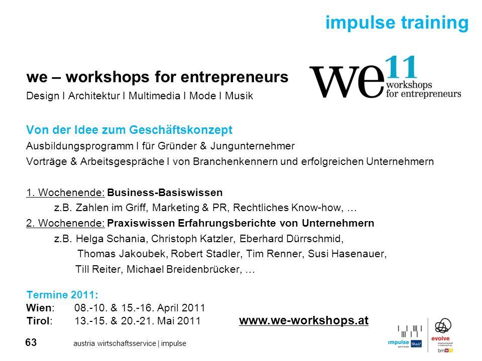 63 austria wirtschaftsservice | impulse we – workshops for entrepreneurs Design I Architektur I Multimedia I Mode I Musik Von der Idee zum Geschäftsko
