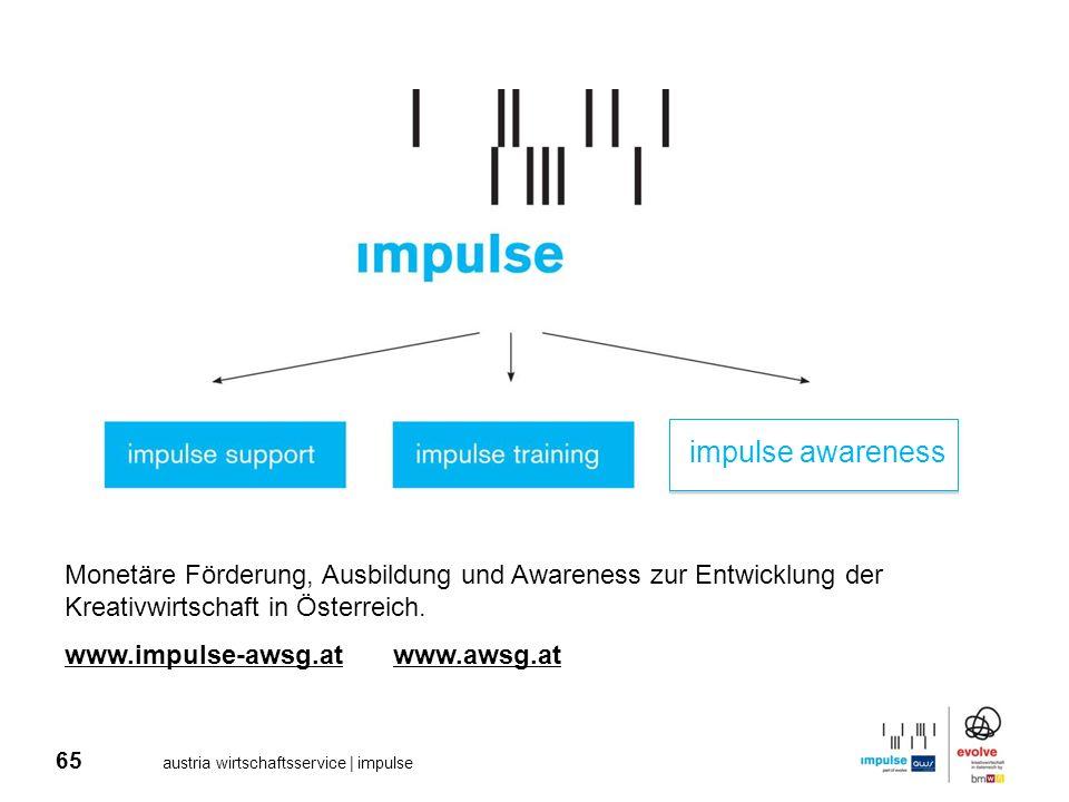 65 austria wirtschaftsservice | impulse Monetäre Förderung, Ausbildung und Awareness zur Entwicklung der Kreativwirtschaft in Österreich. www.impulse-