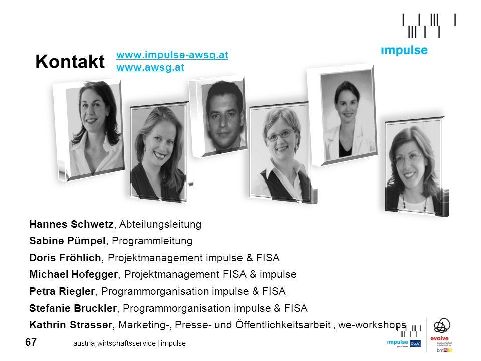 67 austria wirtschaftsservice | impulse Kontakt Hannes Schwetz, Abteilungsleitung Sabine Pümpel, Programmleitung Doris Fröhlich, Projektmanagement imp