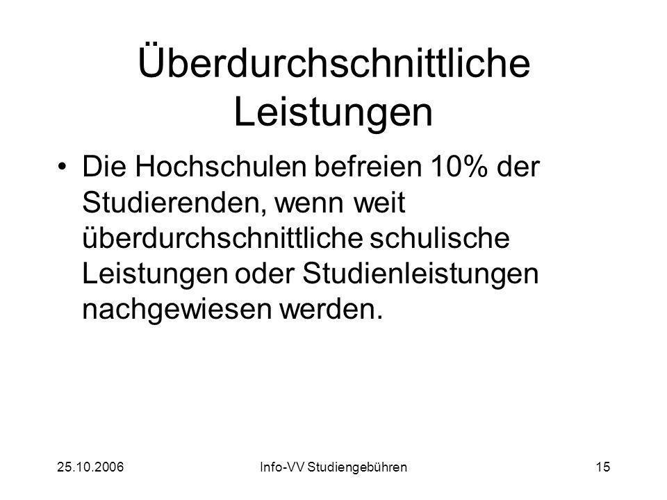 25.10.2006Info-VV Studiengebühren15 Überdurchschnittliche Leistungen Die Hochschulen befreien 10% der Studierenden, wenn weit überdurchschnittliche schulische Leistungen oder Studienleistungen nachgewiesen werden.