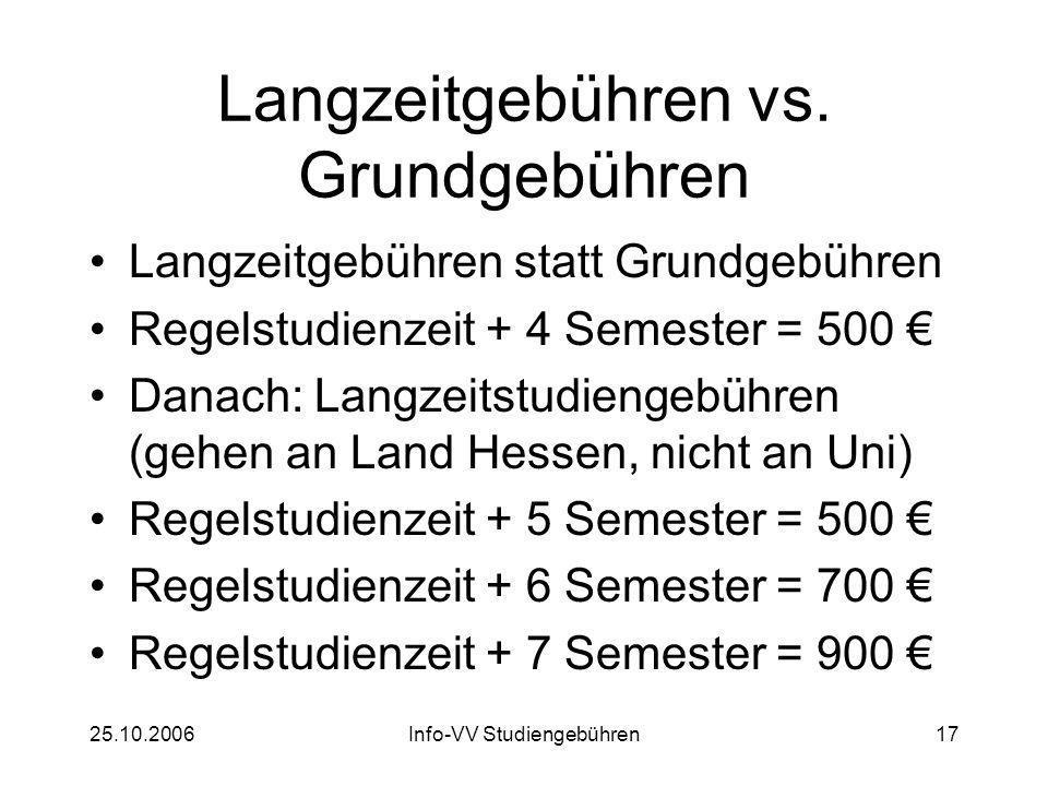 25.10.2006Info-VV Studiengebühren17 Langzeitgebühren vs. Grundgebühren Langzeitgebühren statt Grundgebühren Regelstudienzeit + 4 Semester = 500 Danach