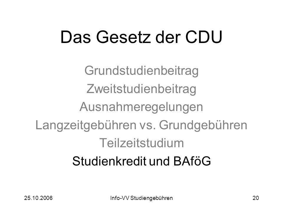 25.10.2006Info-VV Studiengebühren20 Das Gesetz der CDU Grundstudienbeitrag Zweitstudienbeitrag Ausnahmeregelungen Langzeitgebühren vs. Grundgebühren T