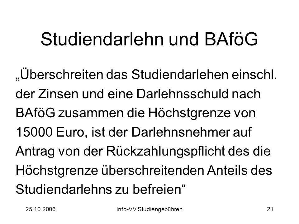 25.10.2006Info-VV Studiengebühren21 Studiendarlehn und BAföG Überschreiten das Studiendarlehen einschl.