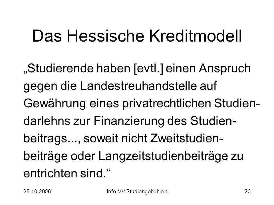 25.10.2006Info-VV Studiengebühren23 Das Hessische Kreditmodell Studierende haben [evtl.] einen Anspruch gegen die Landestreuhandstelle auf Gewährung e