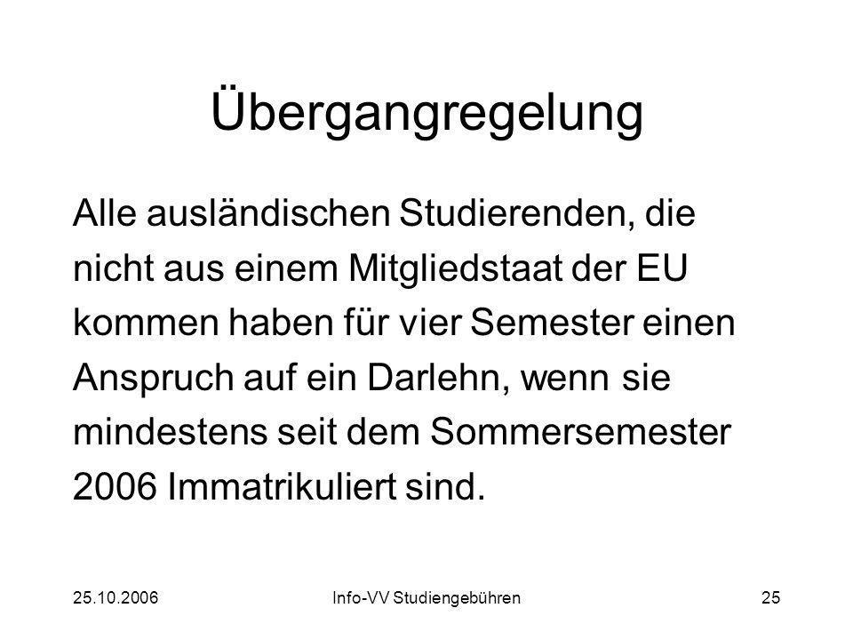 25.10.2006Info-VV Studiengebühren25 Übergangregelung Alle ausländischen Studierenden, die nicht aus einem Mitgliedstaat der EU kommen haben für vier Semester einen Anspruch auf ein Darlehn, wenn sie mindestens seit dem Sommersemester 2006 Immatrikuliert sind.