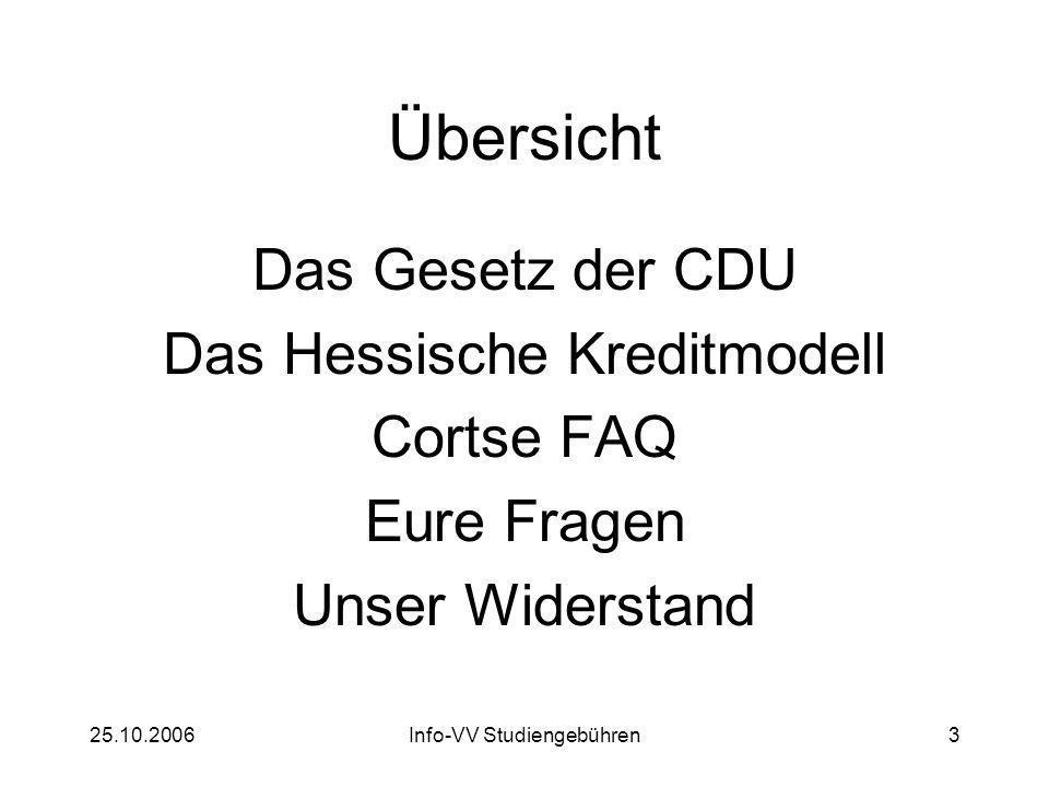 25.10.2006Info-VV Studiengebühren3 Übersicht Das Gesetz der CDU Das Hessische Kreditmodell Cortse FAQ Eure Fragen Unser Widerstand