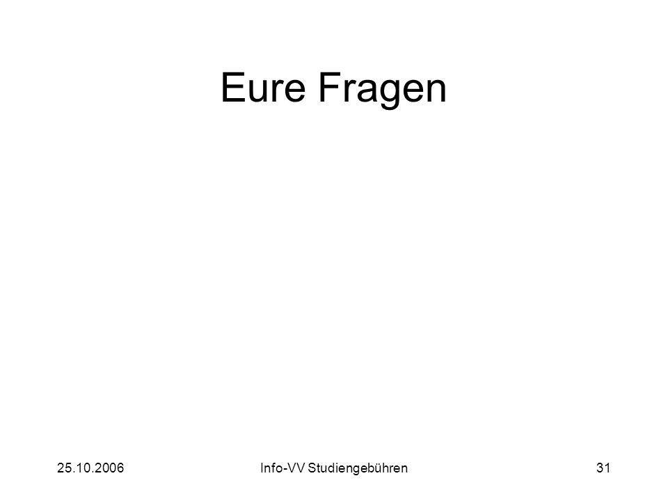25.10.2006Info-VV Studiengebühren31 Eure Fragen