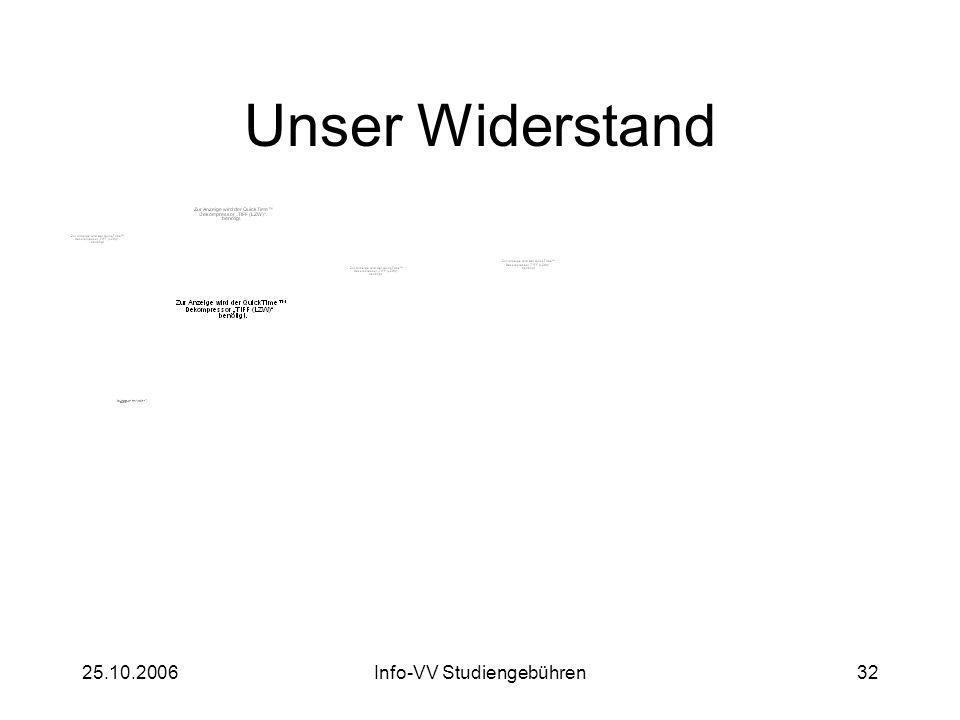 25.10.2006Info-VV Studiengebühren32 Unser Widerstand