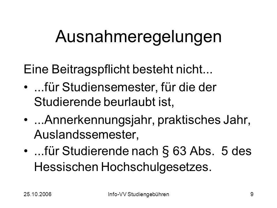 25.10.2006Info-VV Studiengebühren20 Das Gesetz der CDU Grundstudienbeitrag Zweitstudienbeitrag Ausnahmeregelungen Langzeitgebühren vs.