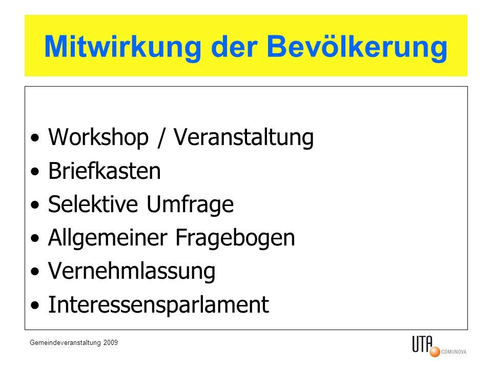 Gemeindeveranstaltung 2009 Mitwirkung der Bevölkerung Workshop / Veranstaltung Briefkasten Selektive Umfrage Allgemeiner Fragebogen Vernehmlassung Interessensparlament