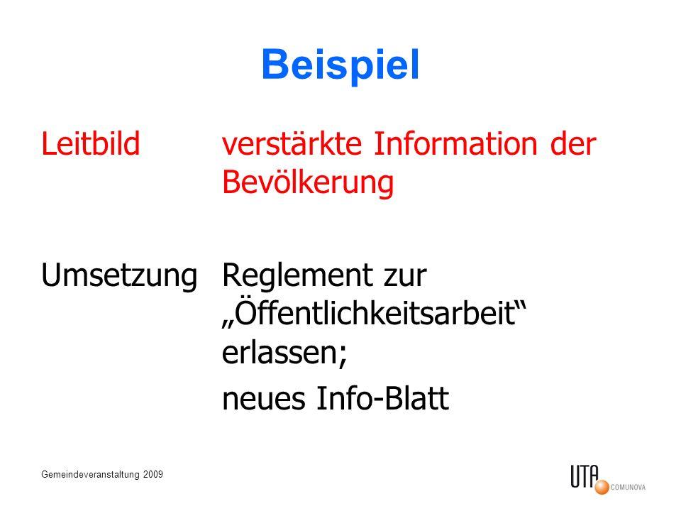 Gemeindeveranstaltung 2009 Beispiel Leitbildverstärkte Information der Bevölkerung UmsetzungReglement zur Öffentlichkeitsarbeit erlassen; neues Info-B