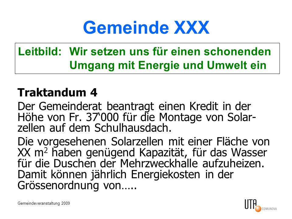 Gemeindeveranstaltung 2009 Gemeinde XXX Traktandum 4 Der Gemeinderat beantragt einen Kredit in der Höhe von Fr. 37000 für die Montage von Solar- zelle