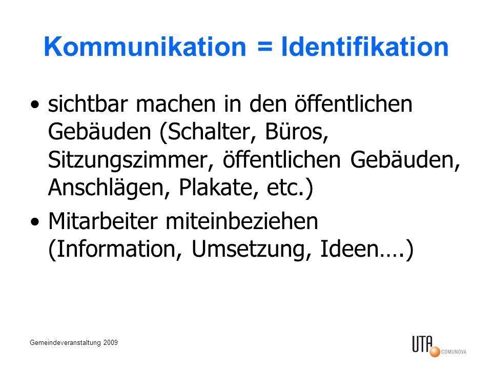 Gemeindeveranstaltung 2009 Kommunikation = Identifikation sichtbar machen in den öffentlichen Gebäuden (Schalter, Büros, Sitzungszimmer, öffentlichen Gebäuden, Anschlägen, Plakate, etc.) Mitarbeiter miteinbeziehen (Information, Umsetzung, Ideen….)