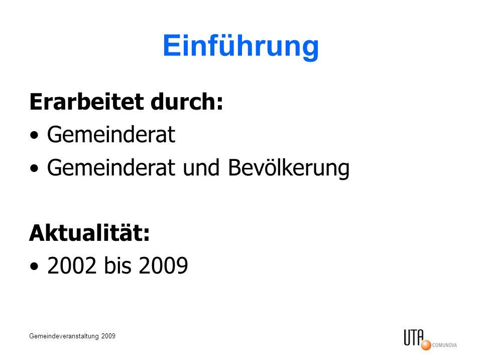 Gemeindeveranstaltung 2009 Einführung Erarbeitet durch: Gemeinderat Gemeinderat und Bevölkerung Aktualität: 2002 bis 2009