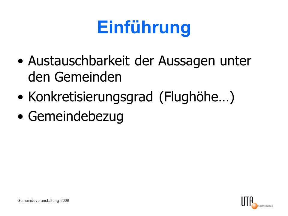 Gemeindeveranstaltung 2009 Einführung Austauschbarkeit der Aussagen unter den Gemeinden Konkretisierungsgrad (Flughöhe…) Gemeindebezug