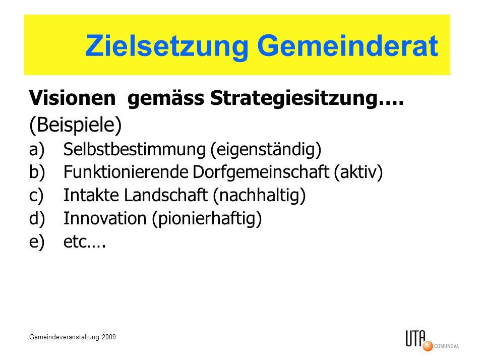 Gemeindeveranstaltung 2009 Zielsetzung des Gemeinderates Visionen gemäss Strategiesitzung…. (Beispiele) a)Selbstbestimmung (eigenständig) b)Funktionie