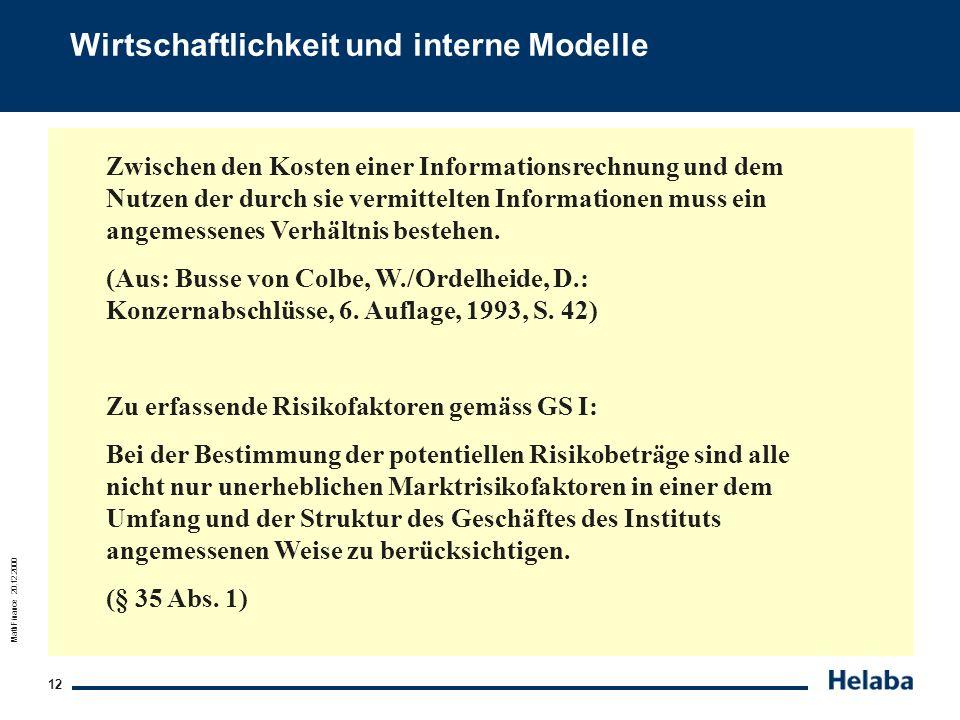 MathFinance 20.12.2000 12 Wirtschaftlichkeit und interne Modelle Zwischen den Kosten einer Informationsrechnung und dem Nutzen der durch sie vermittel