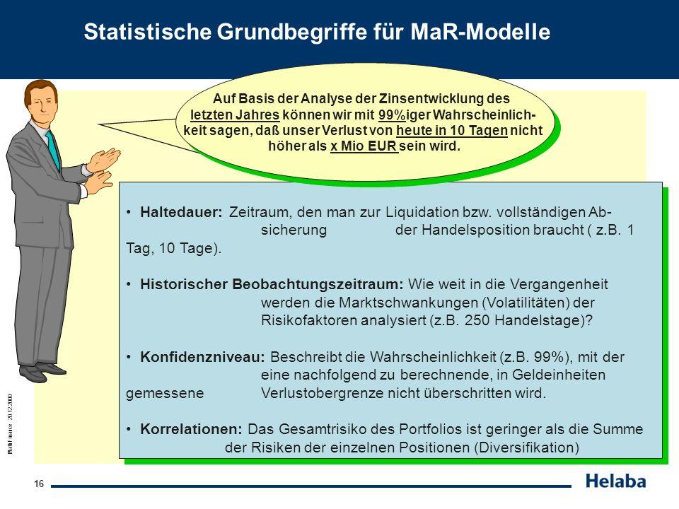 MathFinance 20.12.2000 16 Statistische Grundbegriffe für MaR-Modelle Haltedauer: Zeitraum, den man zur Liquidation bzw. vollständigen Ab- sicherungder