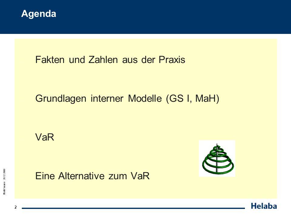 MathFinance 20.12.2000 13 Grundlagen interner Modelle (GS I, MaH) 1. MaH GS I