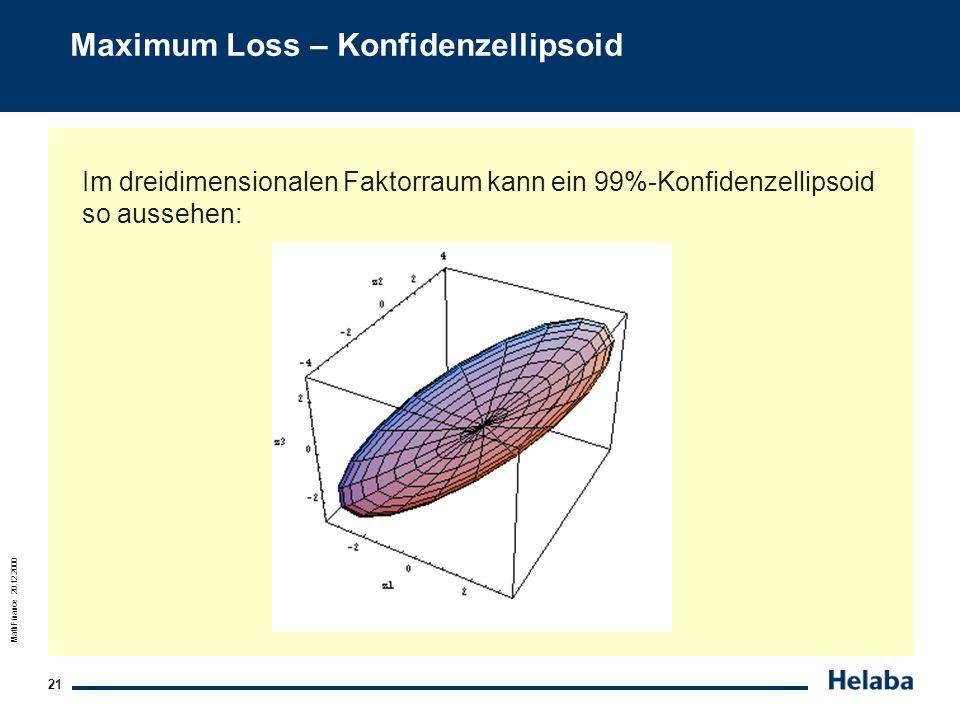 MathFinance 20.12.2000 21 Maximum Loss – Konfidenzellipsoid Im dreidimensionalen Faktorraum kann ein 99%-Konfidenzellipsoid so aussehen: