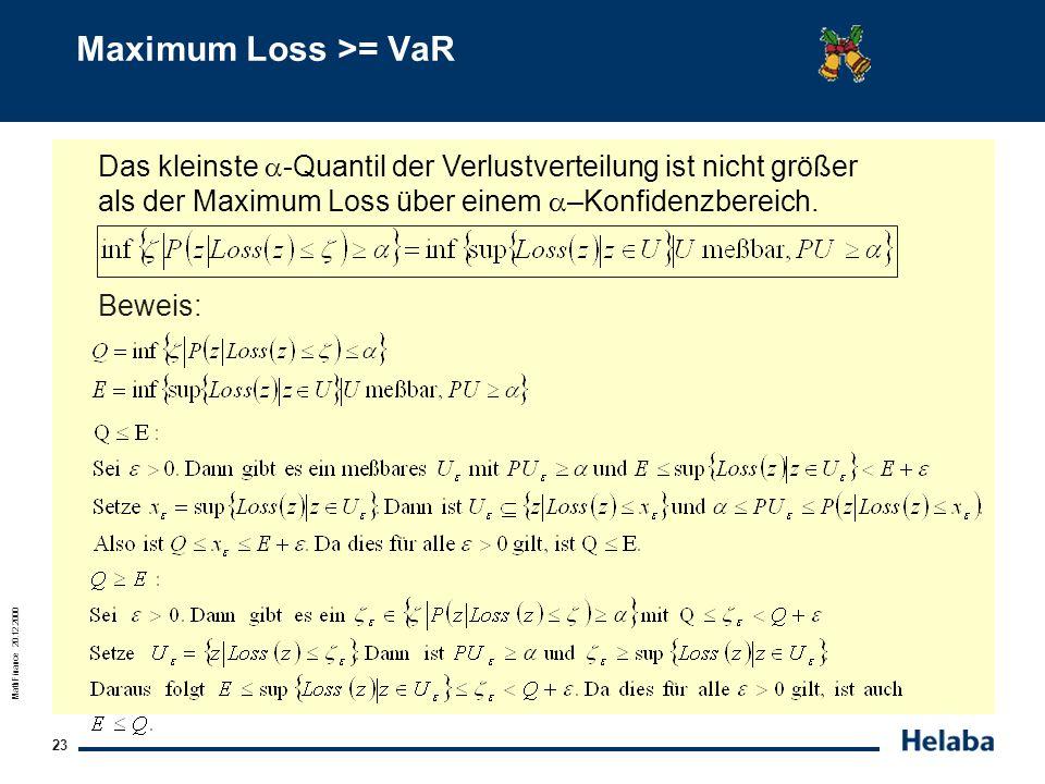 MathFinance 20.12.2000 23 Maximum Loss >= VaR Das kleinste -Quantil der Verlustverteilung ist nicht größer als der Maximum Loss über einem –Konfidenzb