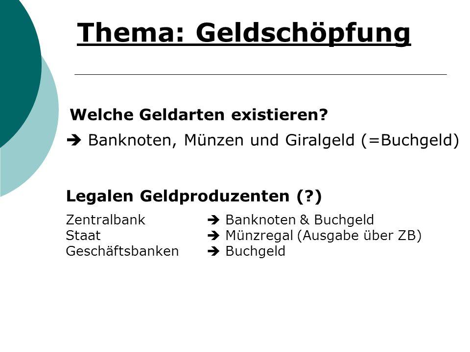 Thema: Geldschöpfung Welche Geldarten existieren? Legalen Geldproduzenten (?) Banknoten, Münzen und Giralgeld (=Buchgeld) Zentralbank Banknoten & Buch