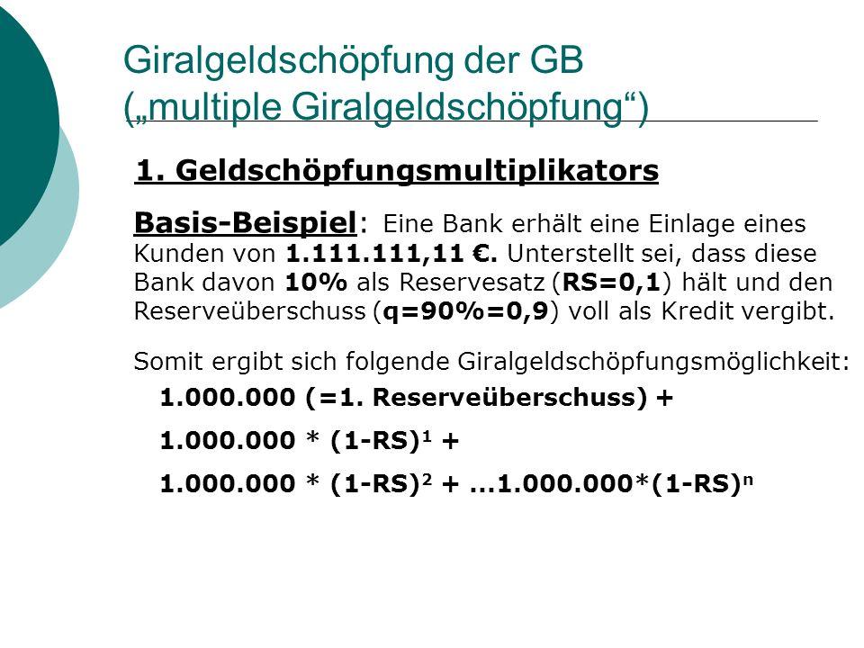Giralgeldschöpfung der GB (multiple Giralgeldschöpfung) 1. Geldschöpfungsmultiplikators Basis-Beispiel: Eine Bank erhält eine Einlage eines Kunden von