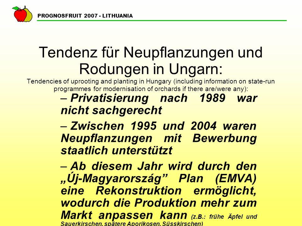 PROGNOSFRUIT 2007 - LITHUANIA Tendenz für Neupflanzungen und Rodungen in Ungarn: Tendencies of uprooting and planting in Hungary (including information on state-run programmes for modernisation of orchards if there are/were any): – Privatisierung nach 1989 war nicht sachgerecht – Zwischen 1995 und 2004 waren Neupflanzungen mit Bewerbung staatlich unterstützt – Ab diesem Jahr wird durch den Új-Magyarország Plan (EMVA) eine Rekonstruktion ermöglicht, wodurch die Produktion mehr zum Markt anpassen kann (z.B.: frühe Äpfel und Sauerkirschen, spätere Aporikosen, Süsskirschen)