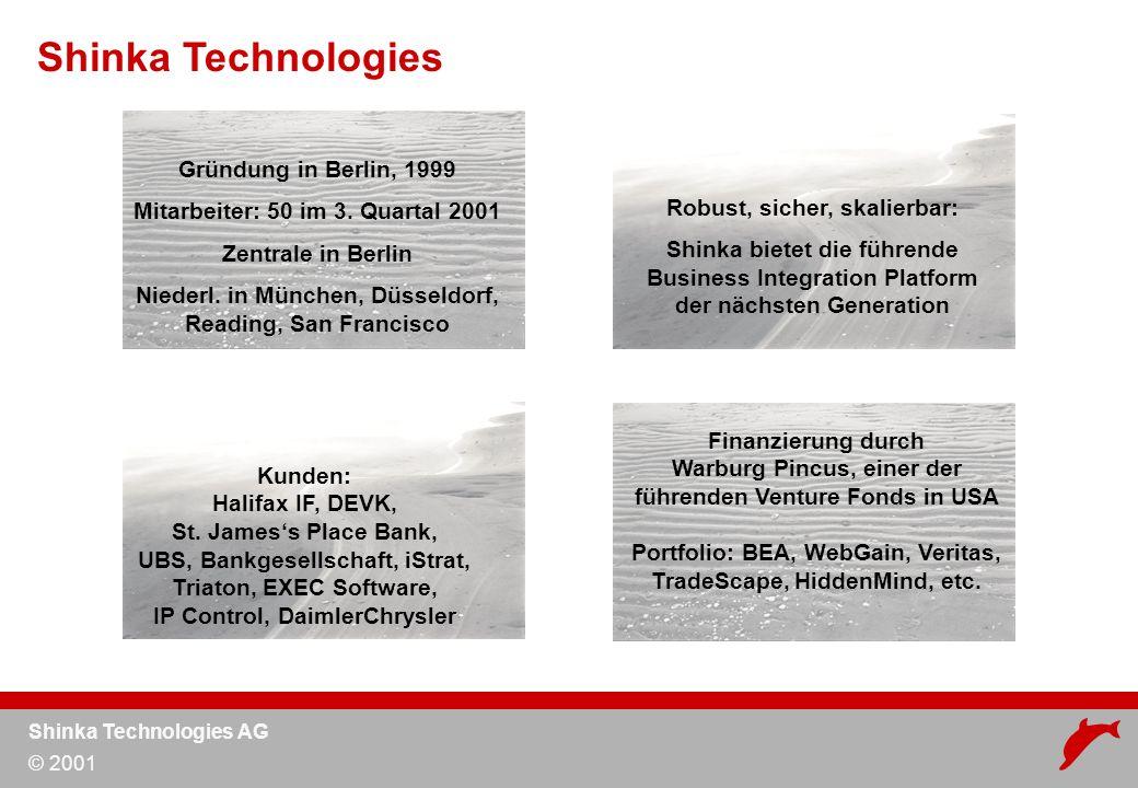 Shinka Technologies AG © 2001 Web Service Technologie –Definition –Anwendungsszenarien für Finanzdienstleister Fallbeispiele –IF.COM –St.