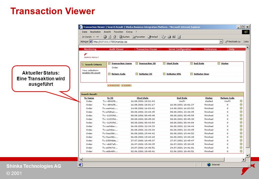 Shinka Technologies AG © 2001 Transaction Viewer Aktueller Status: Eine Transaktion wird ausgeführt