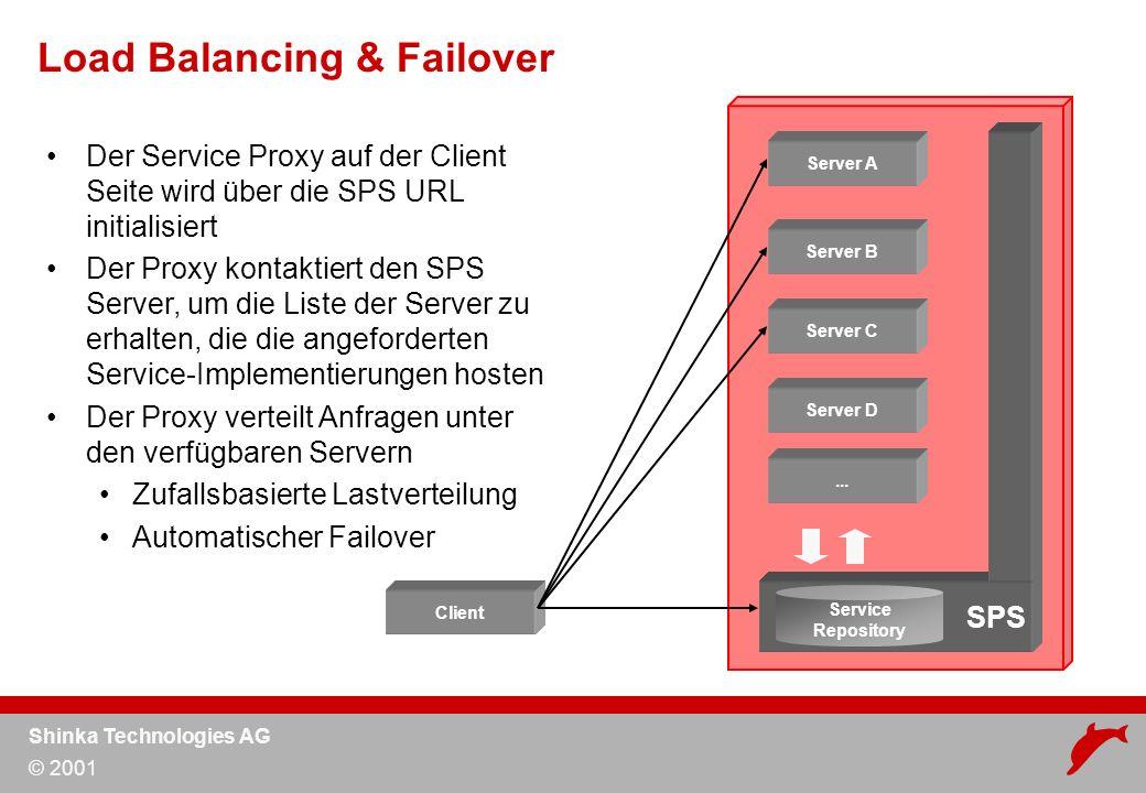 Shinka Technologies AG © 2001 Der Service Proxy auf der Client Seite wird über die SPS URL initialisiert Der Proxy kontaktiert den SPS Server, um die Liste der Server zu erhalten, die die angeforderten Service-Implementierungen hosten Der Proxy verteilt Anfragen unter den verfügbaren Servern Zufallsbasierte Lastverteilung Automatischer Failover Load Balancing & Failover Server A Server B Server C Server D...
