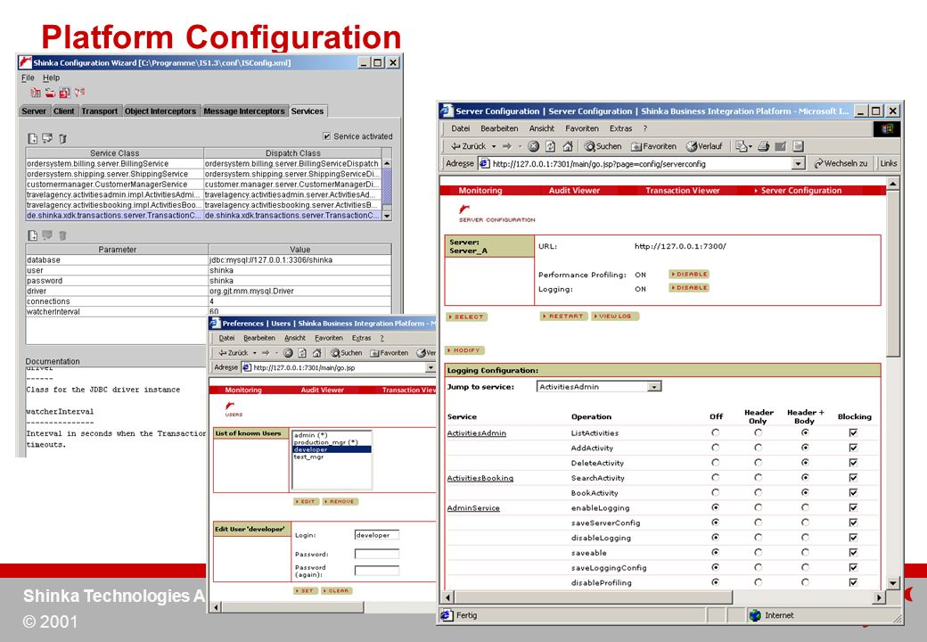 Shinka Technologies AG © 2001 Platform Configuration