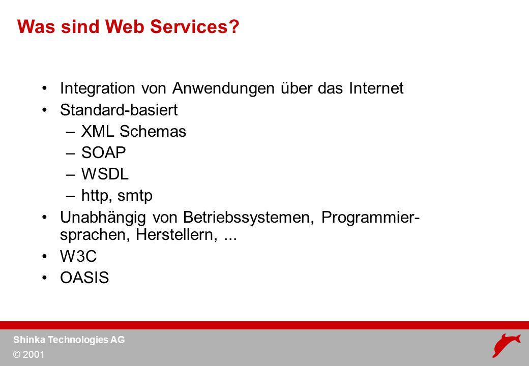 Shinka Technologies AG © 2001 Deployment & Testing Server A Service Repository Server B Automatisch generierte Testdaten aus Web Service Definition Test und Simulation