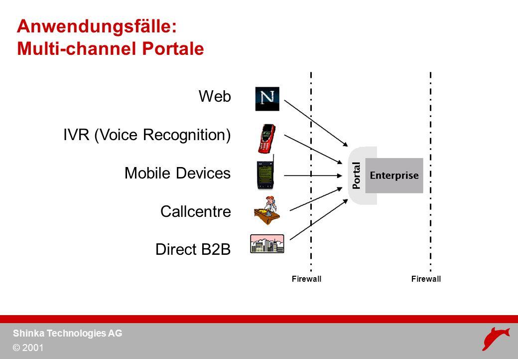 Shinka Technologies AG © 2001 Anwendungsfälle: Einheitliche Kundensicht Backendsysteme Firewall