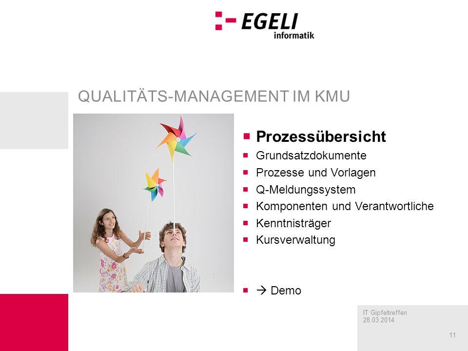 IT Gipfeltreffen 28.03.2014 11 QUALITÄTS-MANAGEMENT IM KMU Prozessübersicht Grundsatzdokumente Prozesse und Vorlagen Q-Meldungssystem Komponenten und